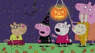 Пазлы свинка Пеппа празднует Хэллоуин Peppa Pig celebrates Halloween puzzles for kids Kapelka