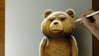 Ted Teddy Bear Drawing - How to draw 3D Art