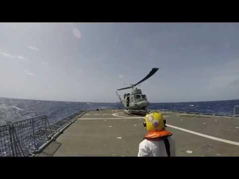 ITS Euro's helo conducts flight deck landing with NRP Bartolomeu Dias