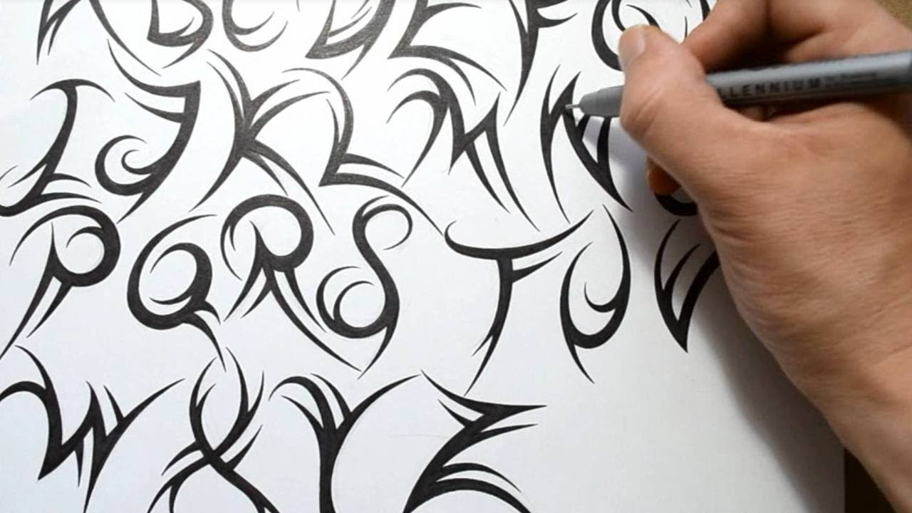how to draw a tribal font
