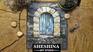 How to draw an old door with soft pastels 🎨 Architecture elements