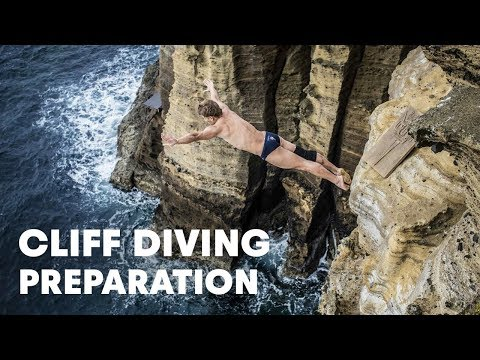 Preparing to cliff dive in Portugal - Red Bull Cliff Diving World Series 2014