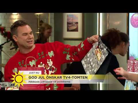 Se vilka passande julklappar Anders Pihlblad ger till politikerna - Nyhetsmorgon (TV4)