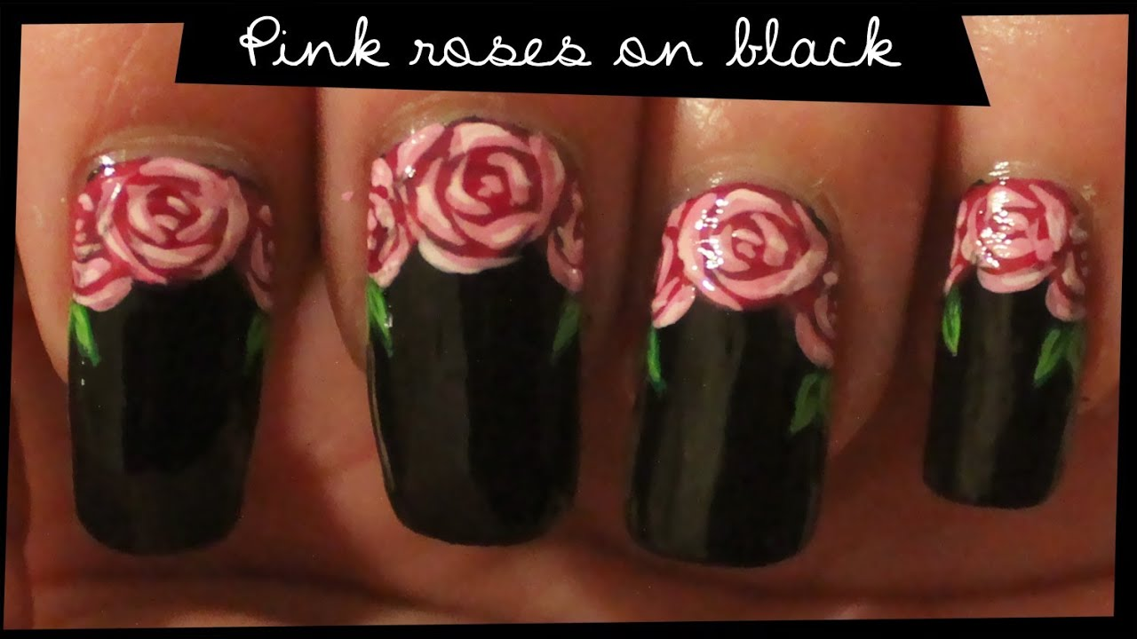 Pink Roses on Black nail art - YouTube