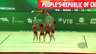 China (CHN) - 2018 Aerobic Worlds, Guimaraes (POR) - Group Qualifications