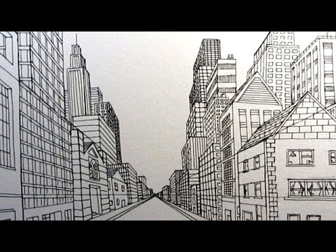How to Draw a City Street in One Point Perspective Narrated - YouTube