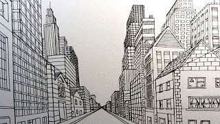 Learn a simple way to draw a City Street in One Point Perspective i...