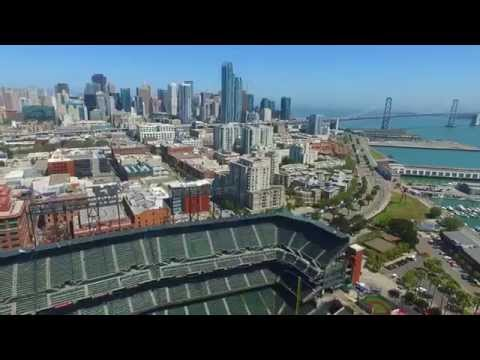 San Francisco - Phantom 3 drone Giants AT&T ball park, Golden Gate Bridge. B Roll. B-Roll.