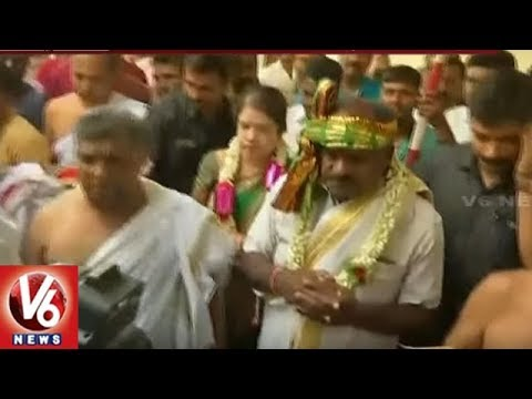 Kumaraswamy Offers Special Prayers To Lakshmi Narasimha Swamy At Hassan | Karnataka | V6 News