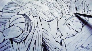 Como Desenhar o Goku SSJ3 [Dragon Ball Z] - (How to Draw Goku SSJ3) - SLAY DESENHOS #09