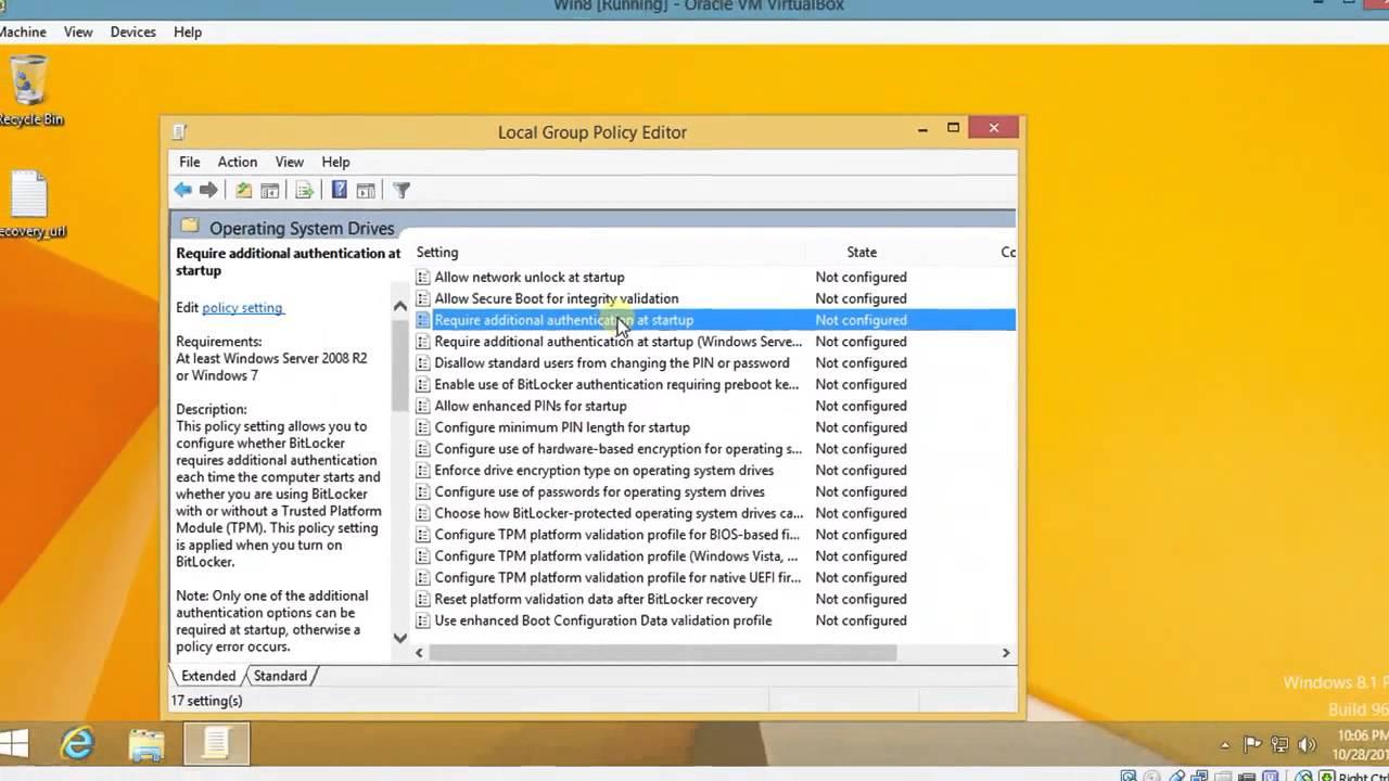Windows 8 1 Pro: BitLocker without TPM