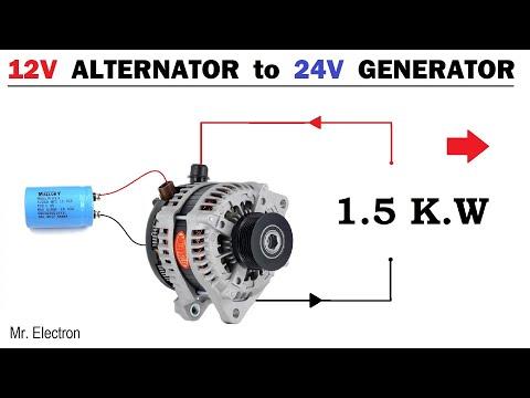 12V Car Alternator to 24 Volts 64 Amps  - 1500W Toyota Alternator