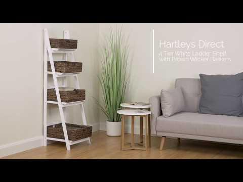 4-tier-white-ladder-shelf-with-brown-wicker-basket-set