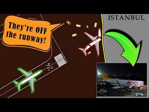 Pegasus B738 OVERRUNS THE RUNWAY at Istanbul | Bad Weather