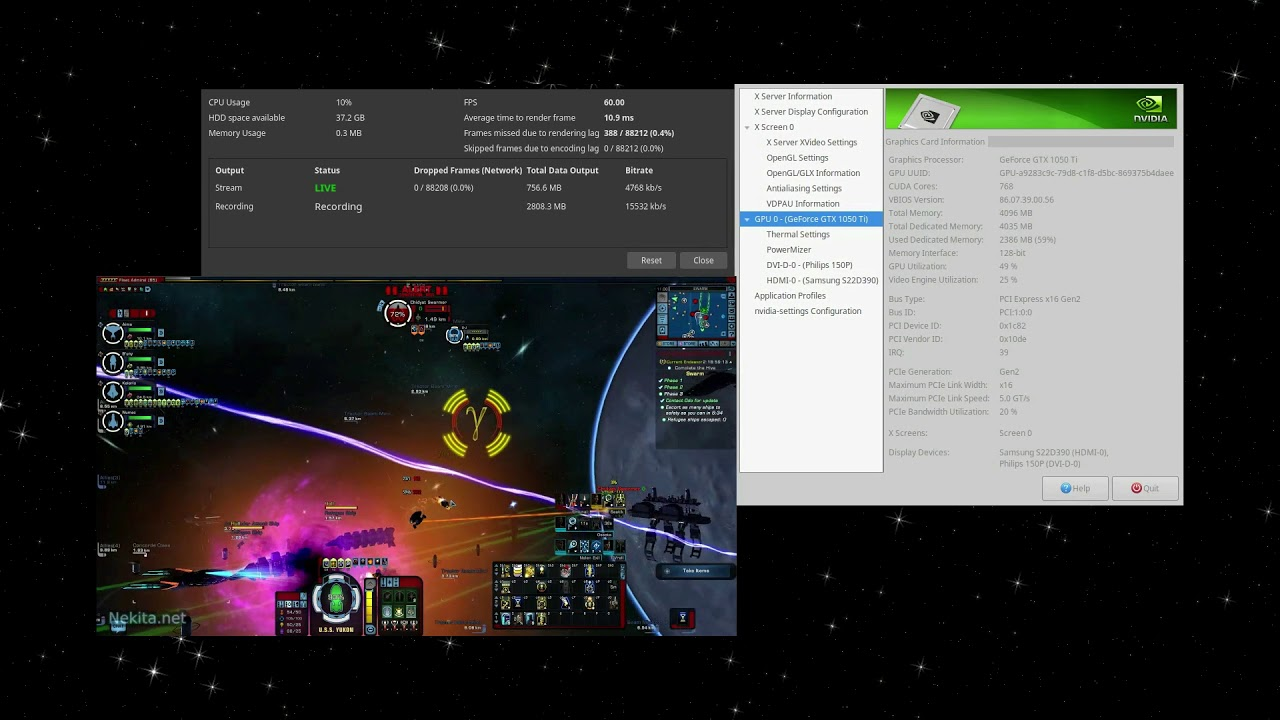 Dual encoding NVENC on the GTX1050ti (Playing STO)