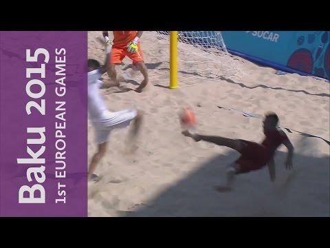 Spain hit the post with a spectacular effort | Beach Soccer | Baku 2015