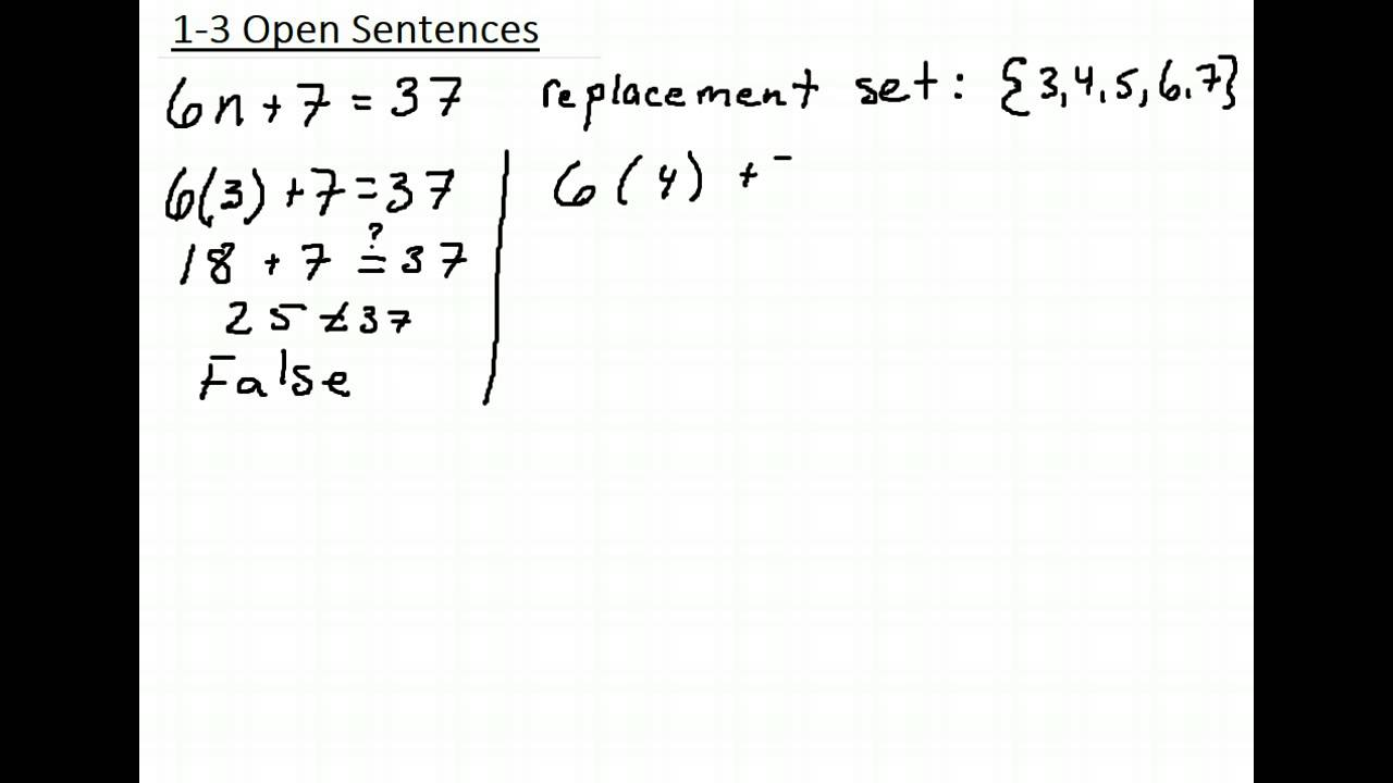 1 3 Open Sentence Example 1 Youtube
