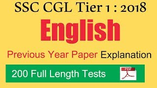 SSC CGL 2018 Tier 1   Previous Year 2017 English Paper Explanation   200 Full Length Tests