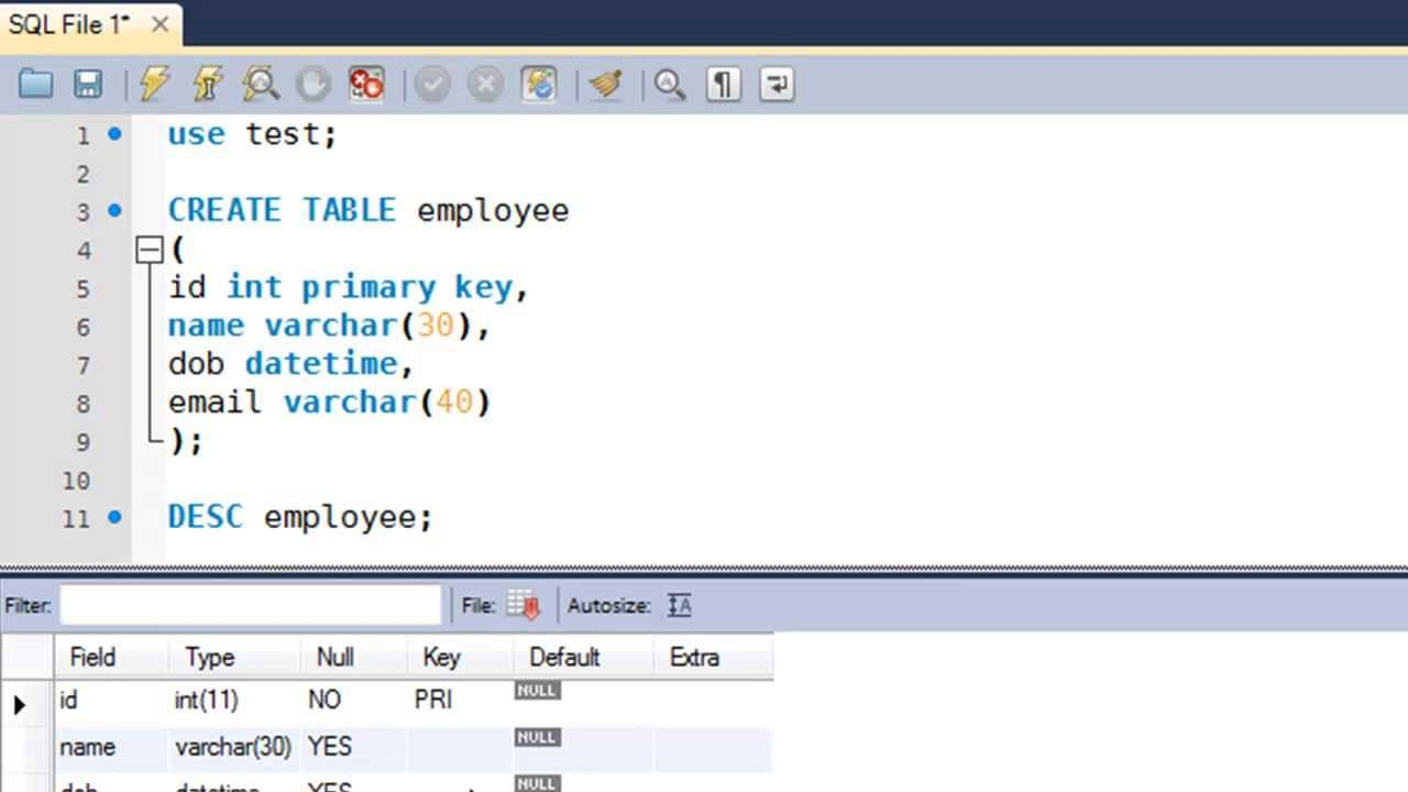 Sql tutorial 9 create table statement youtube for Sql table design query