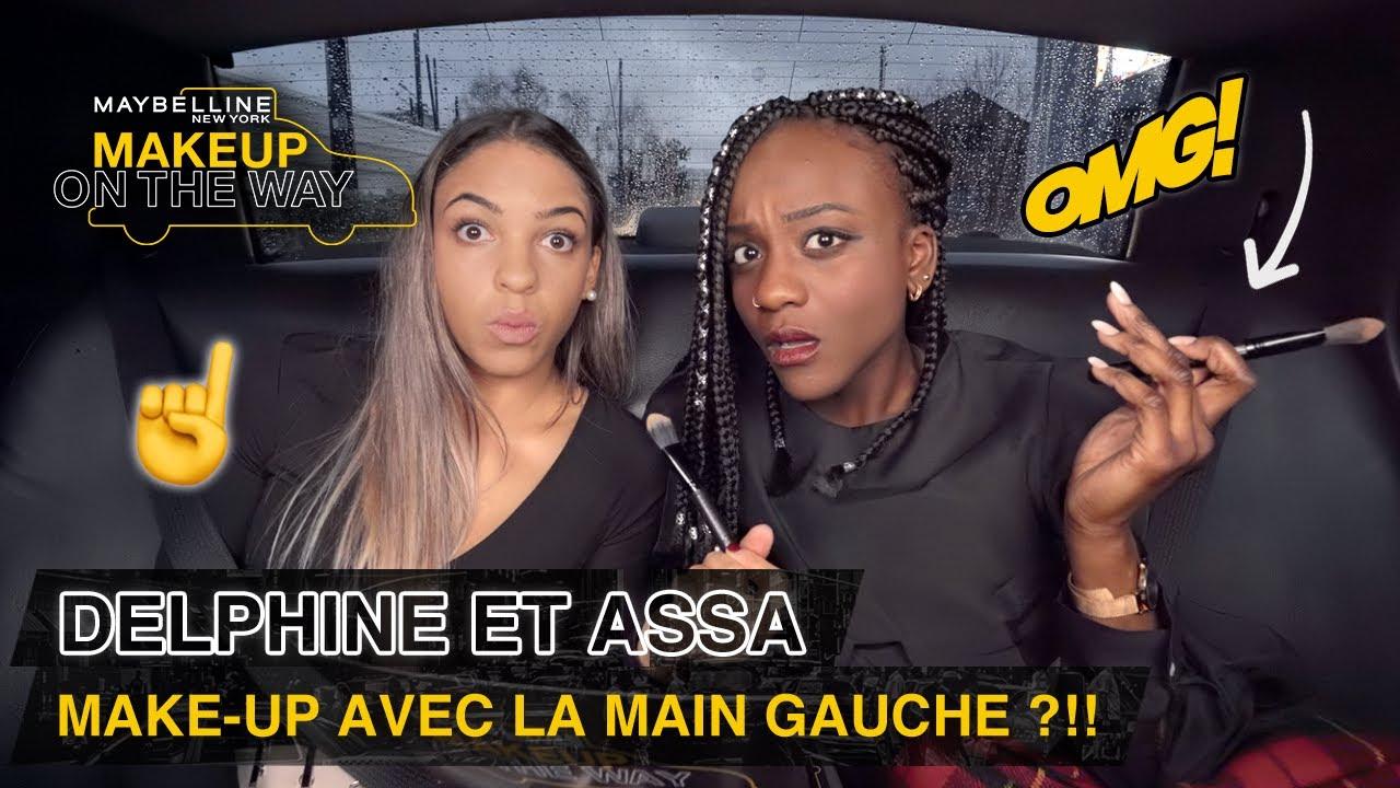 DELPHINE et ASSA se maquillent avec la main GAUCHE ?!! 😰☝️| Makeup On The Way #22
