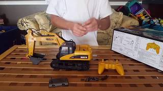 Huina 1550 15-channel 2.4GHz Remote Control RC Excavator [Unboxing setup & Review]