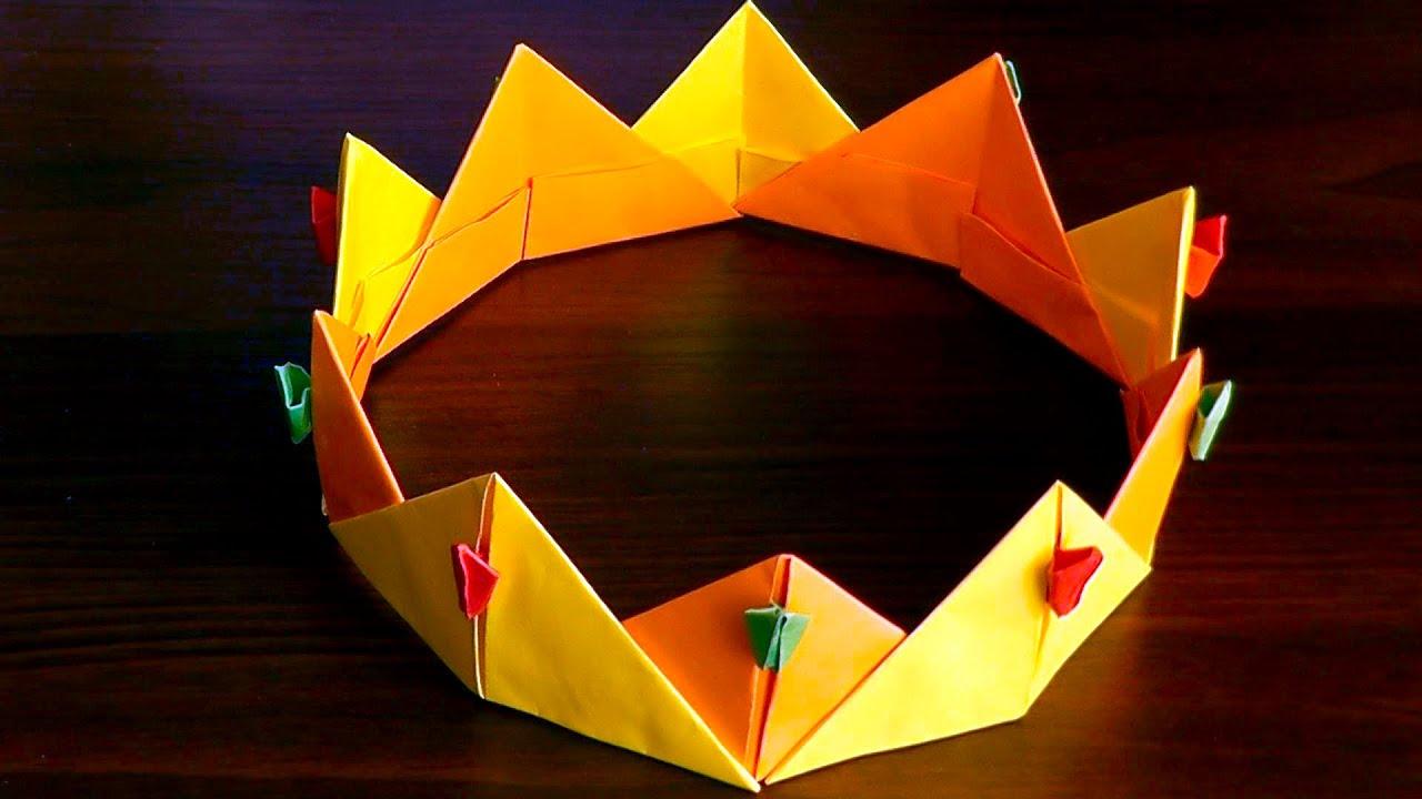3d Origami Crown Diadem Corona Tutorial Youtube