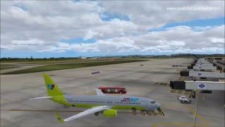 P3D v3.2 PMDG 737ngx Jin air 642 PGUM-RKSI on vatsim and liveatc with real cabin announcement