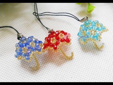 DIY Kawaii Bead Umbrella Keychain 水晶串珠教学 可爱的小雨伞挂饰