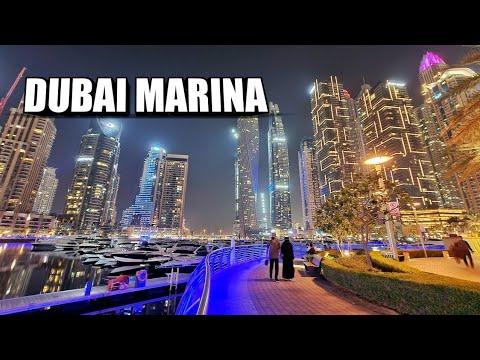 Dubai Marina Walk Night Walking Tour   Dubai UAE 🇦🇪