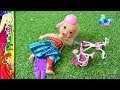Elsa and Anna toddlers riding bikes at park! Playing Adventure! Rapunzel helps her friend LOL - Toys