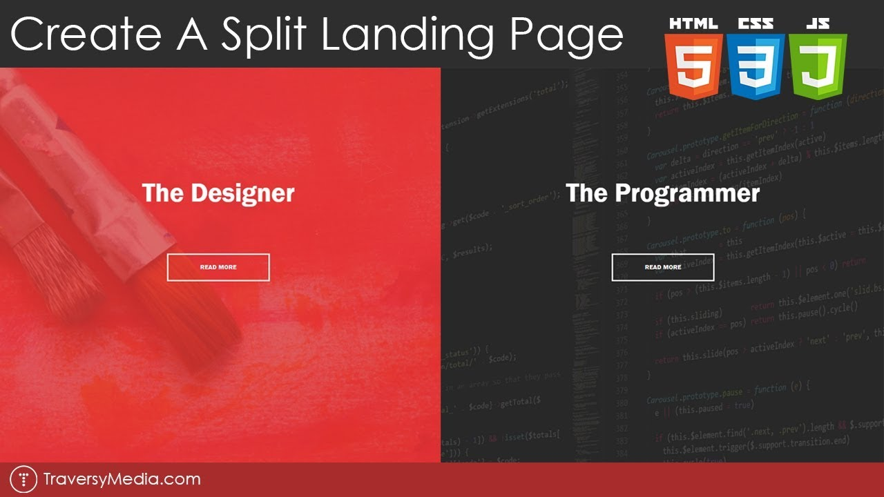 create a split landing page with html  css  u0026 js