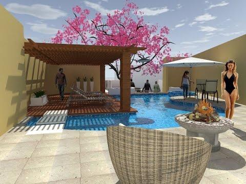 Proyecto alberca y palapa en juriquilla youtube for Albercas de patio