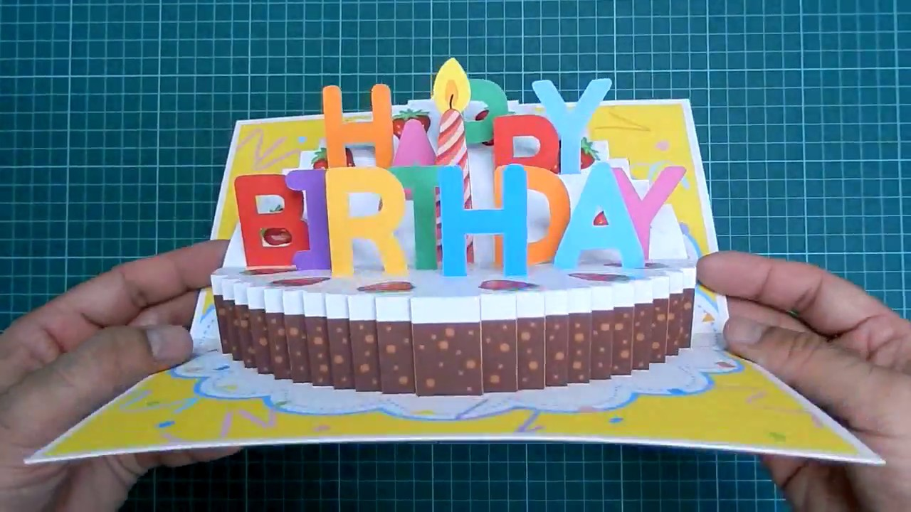 Happy Birthday Cake Pop Up Card Tutorial Part II Candle Version