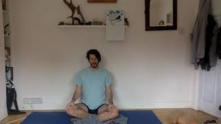 A short seated meditation, breathing calm into the body