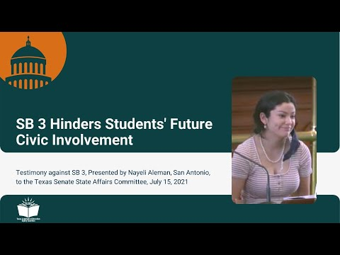 SB 3 Hinders Students' Future Civic Involvement – Student Testimony