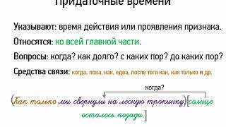 Придаточные времени (9 класс, видеоурок-презентация)
