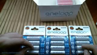 Розпакування. Компанія Sanyo UR18650FM, компанія Sanyo Eneloop компанії Sanyo за HR-3UTGA-4БП, захищені keeppower 18650 2600 мАч
