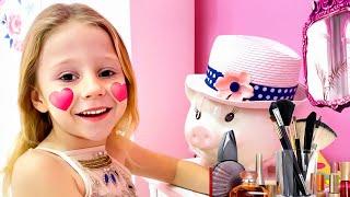 Nastya malte Gesichter für einen Schönheitswettbewerb, lustiges Video für Kinder