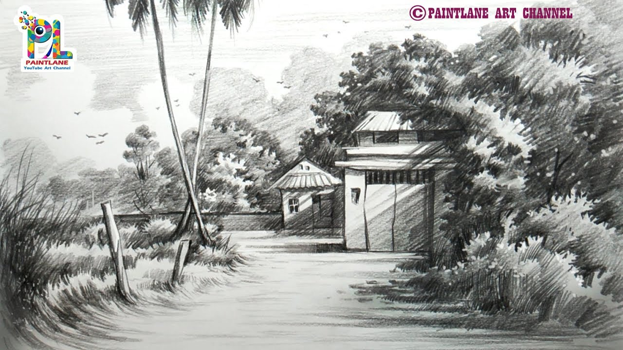 Learn How To Draw and Shade A Scenery With Very Easy and ...