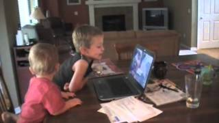 Griffin and Turner skype with daddy