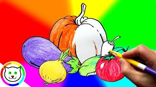 How to Draw Pumpkin Coloring Pages Vegetables | Kids Learn Drawing | Art Colors for Children