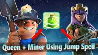 Queen Walk Miner Attack Useing Jump Spell! Best Queen Walk Miner 3star War Strategy | Clash of Clans
