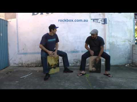 Guy Anderton on a new bass cajon by Rockbox, with pat pending adjustable snare system.