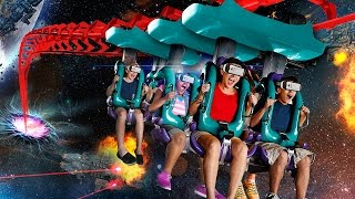 Galactic Attack Virtual Reality Coaster at Six Flags New England on Mind Eraser