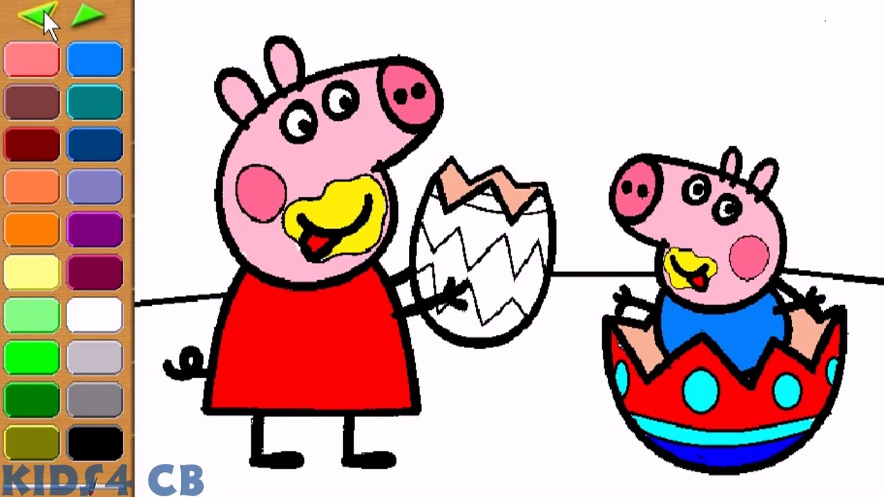 peppa pig easter coloring pages for kids youtube