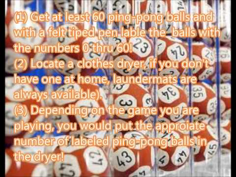HOW TO PICK THE WINNING LOTTERY NUMBERS: THE CLOTHES DRYER METHOD