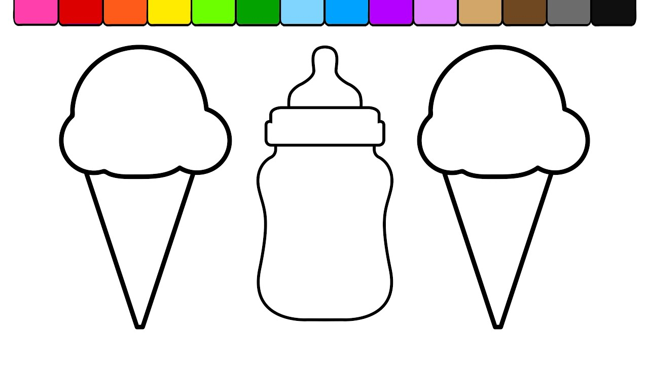 learn colors for kids and color ice cream baby bottle coloring