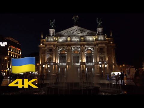 Lviv Walk: Lviv Opera Via Rynok Square At Night【4K】