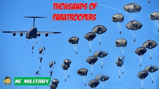 Thousands of Paratroopers Static Line Jump From C-17 Globemaster III