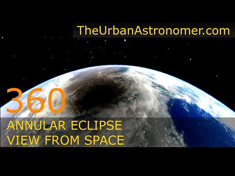 Annular Solar Eclipse June 21, 2020 – 360 Degree View from Space Simulation
